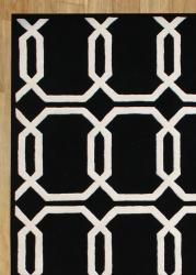 Alliyah Handmade Black New Zealand Blend Wool Rug 5 X 8