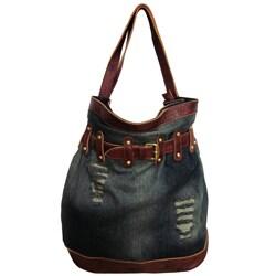 Amerileather 'Damian' Denim and Leather Shoulder Bag