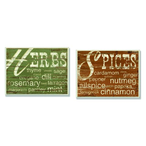 Kitchen 'Herbs and Words'/ 'Spices and Words' Wall Plaques