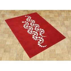 Handmade Sabrina Red Floral Wool Rug (5 x 8)