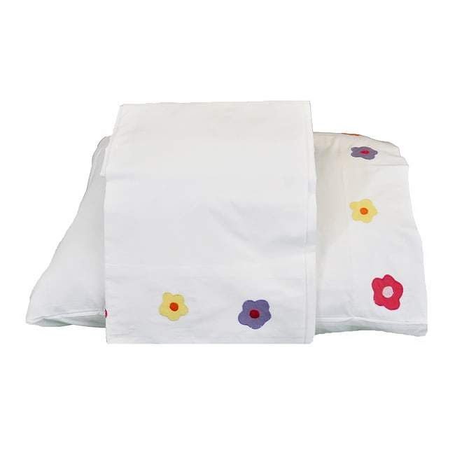 Cottage Home Floral-trim 200 TC Twin Sheet Set