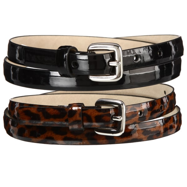 Steve Madden Women's Skinny 2-for-1 Belts