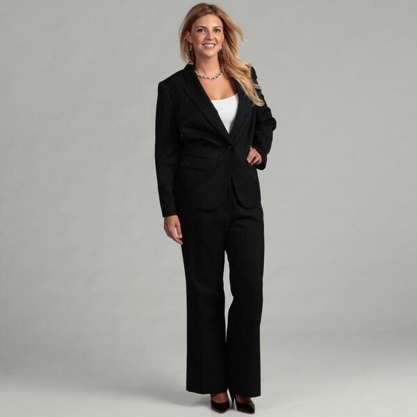 Tahari Women's Plus Size Pinstripe Pant Suit