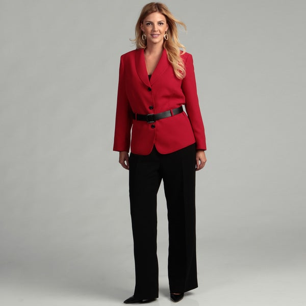 Shop Tahari Women S Plus Size Belted Pant Suit Final Sale Free