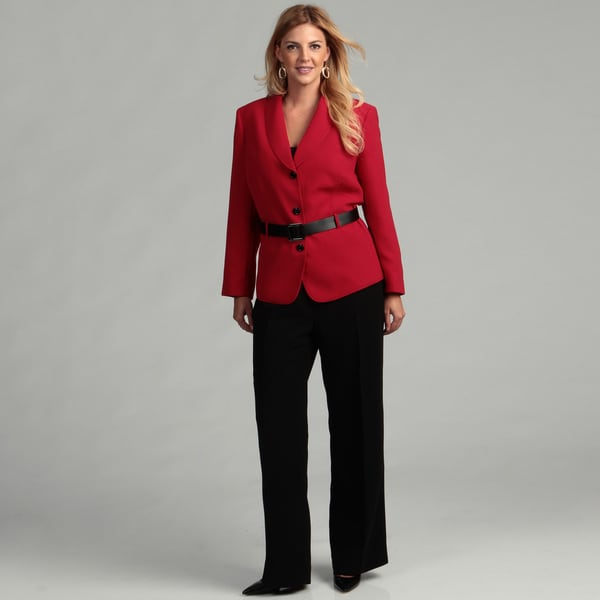 Tahari Women's Plus-size Belted Pant Suit FINAL SALE - Free ...