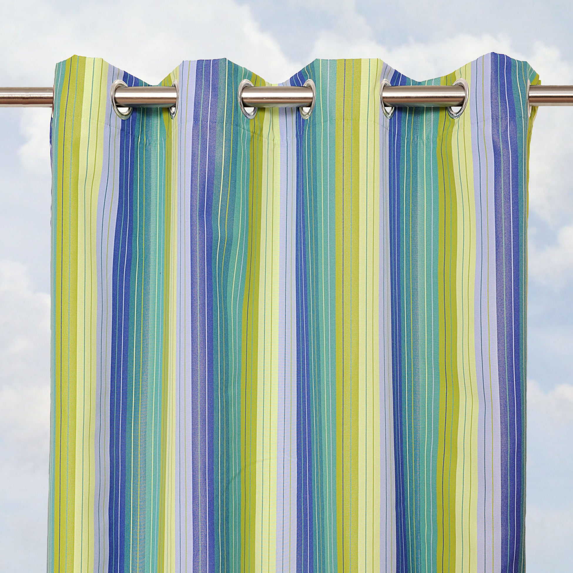 Sunbrella Bay View Seaside 84-inch Outdoor Curtain Panel - Thumbnail 0
