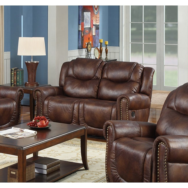 Witiker Bonded Leather Brown Dual Reclining Loveseat - Thumbnail 0