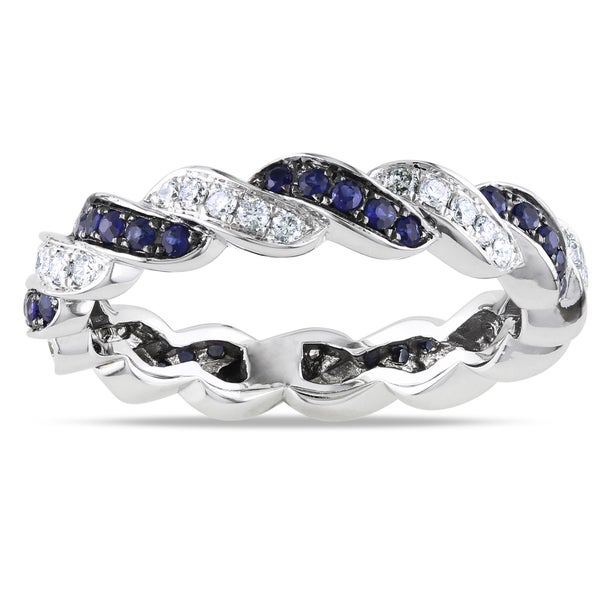 Miadora 14k White Gold 3/5ct TGW Sapphire and 1/3ct TDW Diamond Ring (G-H, SI1-SI2) (Size 7)