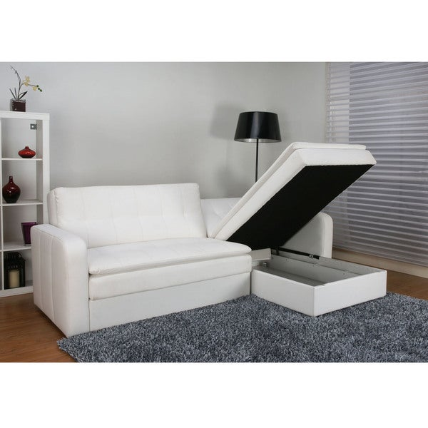 Denver White Double Cushion Storage Sectional Sofa Bed And Ottoman Set    Free Shipping Today