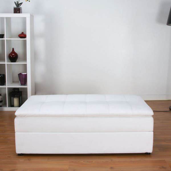 Enjoyable Shop Denver White Double Cushion Storage Sectional Sofa Bed Pabps2019 Chair Design Images Pabps2019Com