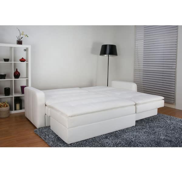 Surprising Shop Denver White Double Cushion Storage Sectional Sofa Bed Pabps2019 Chair Design Images Pabps2019Com
