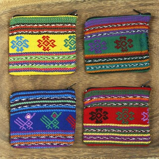 Colorful Cotton Little Critter Coin Purse (Made in Guatemala) (Option: Red)
