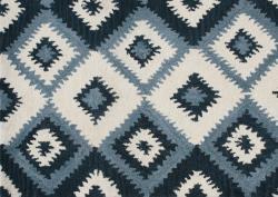 Alliyah Handmade IKAT Handmade Orion Blue New Zealand Blend Wool Rug 5x8
