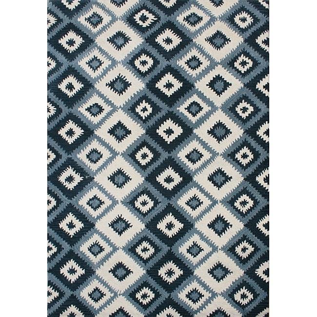 Alliyah Handmade IKAT Handmade Orion Blue New Zealand Blend Wool Rug (8' x 10')