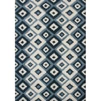 Alliyah Handmade IKAT Handmade Orion Blue New Zealand Blend Wool Rug - 8' x 10'