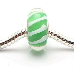 Murano-inspired Glass Green with White stripes Charm Beads (Set of 2)