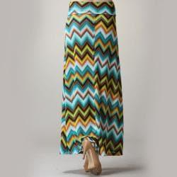 Tabeez Women's Fold-over Zig Zag Print Maxi Skirt - Thumbnail 1