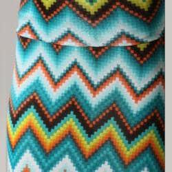 Tabeez Women's Fold-over Zig Zag Print Maxi Skirt - Thumbnail 2