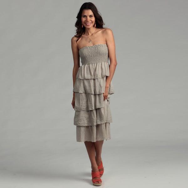 Elan Women's Taupe Cotton/ Silk Tiered Strapless Dress