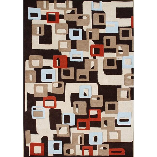 Alliyah Handmade Black Squares New Zealand Blend Wool Rug (8' x 10')
