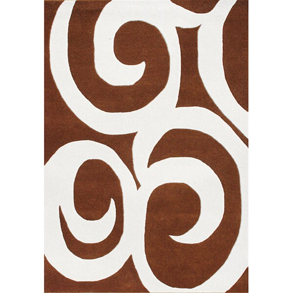 Alliyah Handmade Brown Swirl New Zealand Blend Wool Rug (5' x 8')