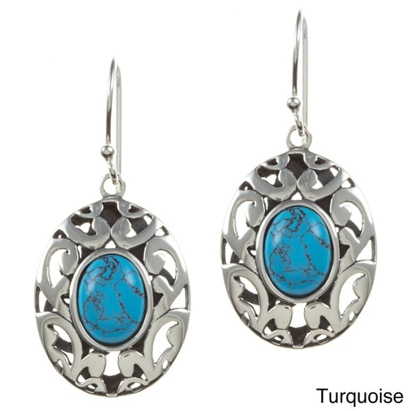 Sunstone Silver Dyed Jade or Reconstituted Turqouise Oval Dangle Earrings