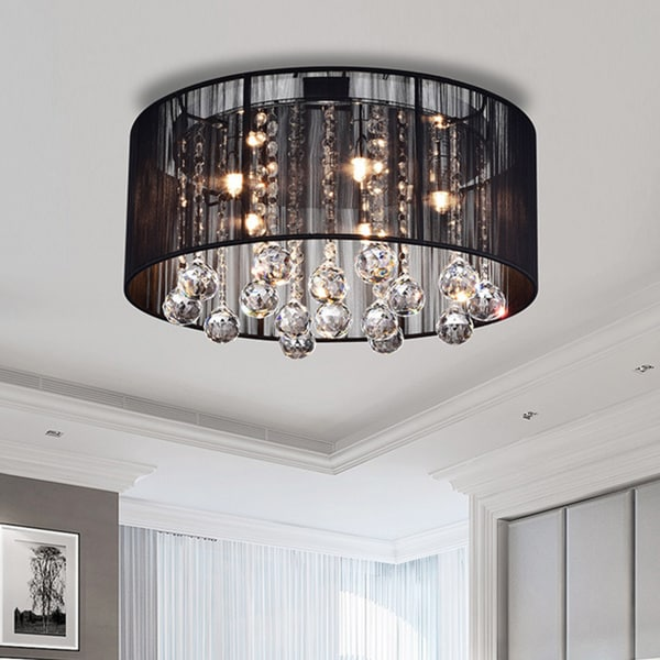 Warehouse of Tiffany Black Fabric, Chrome-finished Metal, and Crystal 5-light Ceiling Lamp