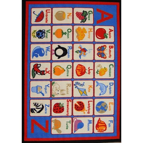 Shop Kids' Non-Skid Blue Alphabet Rug (3'3 X 4'7)