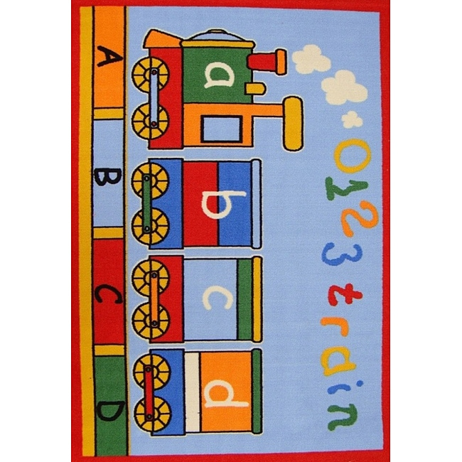 Kids' Non-Skid Train Rug (3'3 x 4'7)
