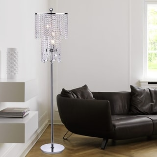 Warehouse Of Tiffany Chrome And Crystal Floor Lamp