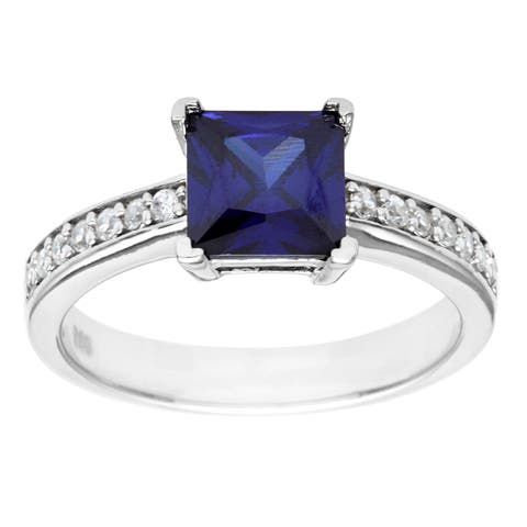 Pearlz Ocean Sterling Silver Blue and Clear Cubic Zirconia Ring