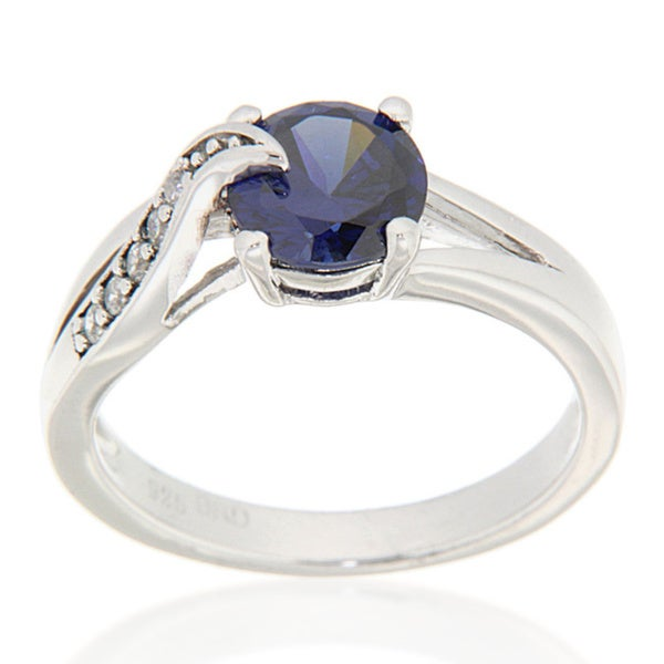 Pearl Ocean Sterling Silver Blue and White CZ Ring