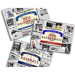 Collectible Newspaper Legends of Baseball, Football, and Basketball Gift Set