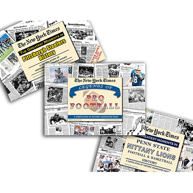 Collectible Newspaper Penn State History, Steelers History, and Legends of Pro Football Gift Set