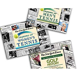 Collectible Newspaper Legends of Golf, Men's Tennis, and Women's Tennis Gift Set