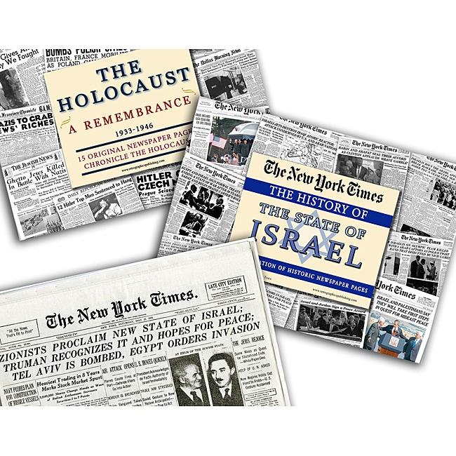 Collectible Newspaper History of Israel, Israeli Statehood, Holocaust Newspapers Gift Set