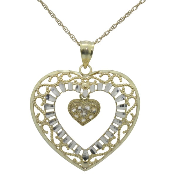 Gioelli Gold over Silver Diamond Accent Double Heart Necklace
