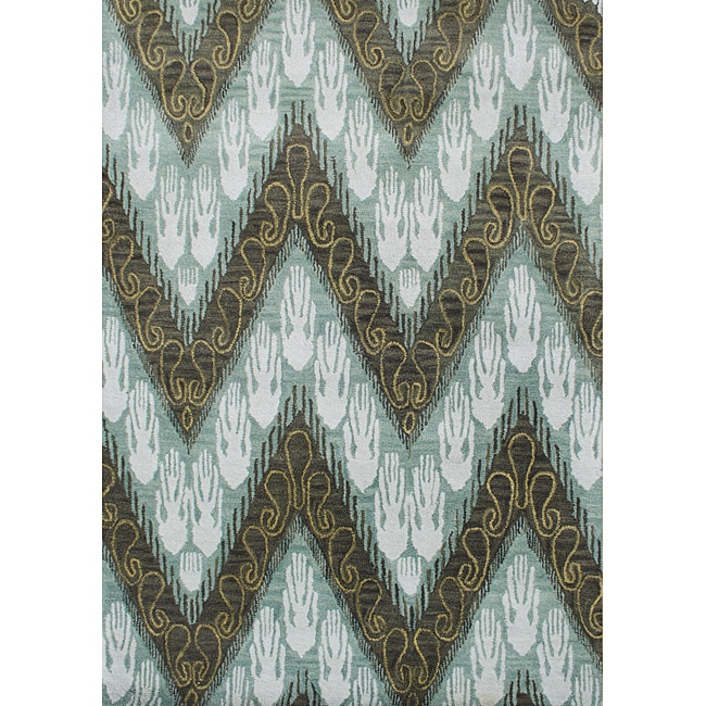 Alliyah Handmade Ikat Forest Green New Zealand Blend Wool