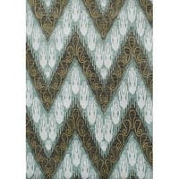 Alliyah Handmade Ikat Forest Green New Zealand Blend Wool Rug - 8' x 10'