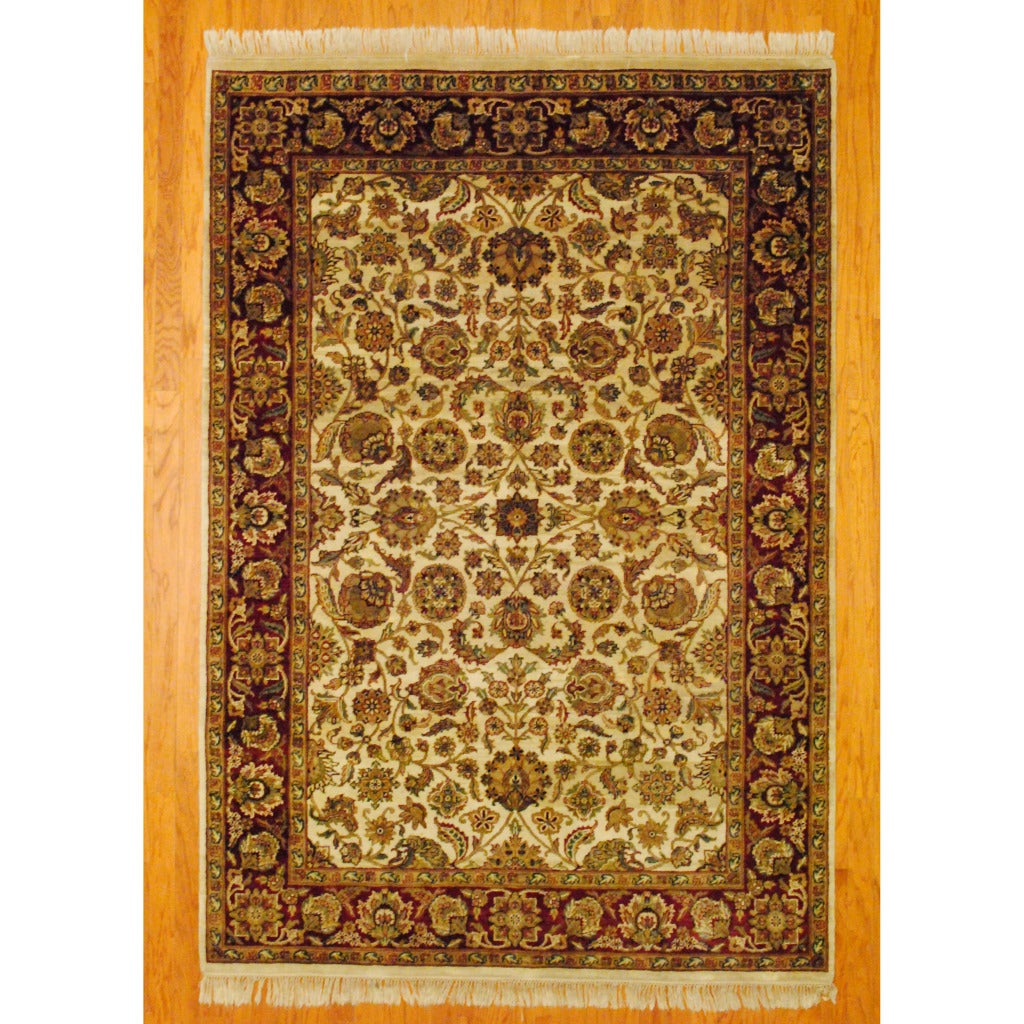 Indo Hand-knotted Mahal Ivory/ Red Wool Rug (6'2 x 9')