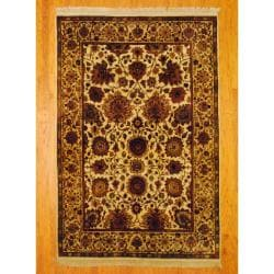 Herat Oriental Indo Hand-knotted Mahal Ivory/ Rust Wool Rug (6'1 x 9'1)