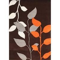 Alliyah Handmade Dark Earth New Zealand Blend Wool Rug - 5' x 8'