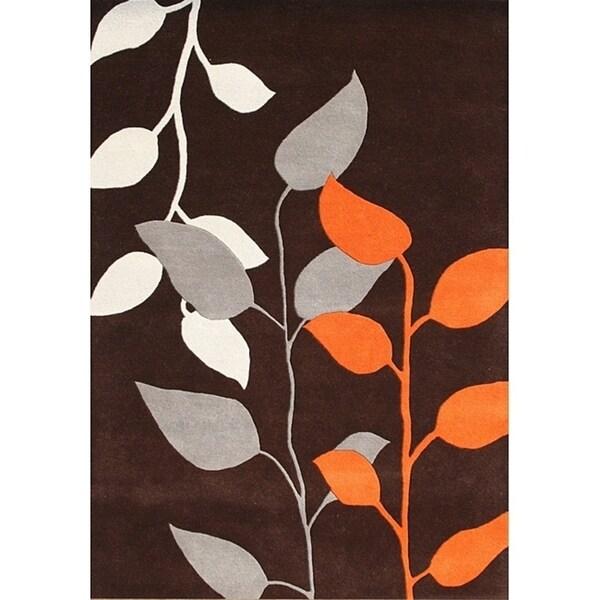 Alliyah Handmade Dark Earth New Zealand Blend Wool Rug - 8' x 10'