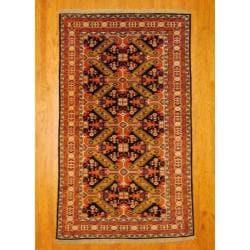 Herat Oriental Persian Hand-knotted Tribal Kurdish Blue/ Ivory Wool Rug (5'6 x 9'3)