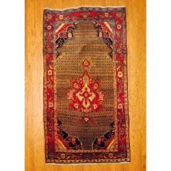 Herat Oriental Persian Hand-knotted 1940s Antique Tribal Bidjar Light Brown/ Red Wool Rug (4'9 x 8'7)