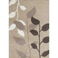Alliyah Handmade Latte New Zealand Blend Wool Rug (5' x 8')