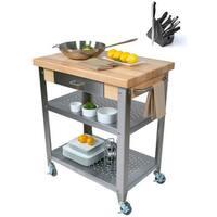 John Boos Cucina Elegante 30x20x35 Cart with Henckels 13 Piece Knife Block Set