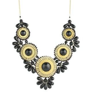 Handmade Turquoise Glass Beads 'Heavenly Hues' Bib Necklace , (India)