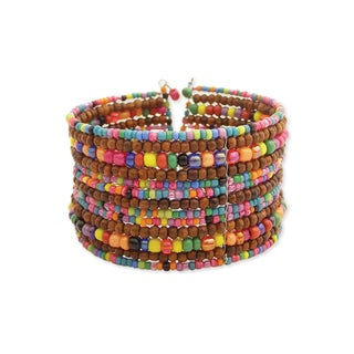 Handcrafted Multicolor 'Beaded Rainbow' Flexible Seed Bead Cuff Bracelet (India)