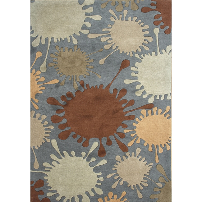 Alliyah Handmade Smoke Grey New Zealand Blend Wool Rug (5'x8')